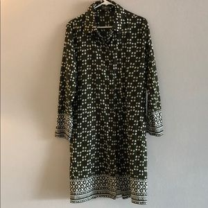 Tops - Green patterned button down shirt dress/ tunic
